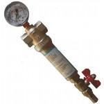 Фильтр самопромывной сетчатый для холодной и гарячей воды с монометром USTM (механической очистки)